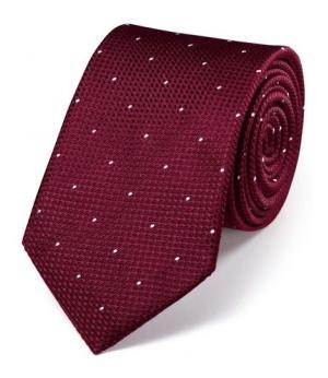 Cravata barbati Charles Tyrwhitt - matase 100 % - rosu burgund cu material texturat