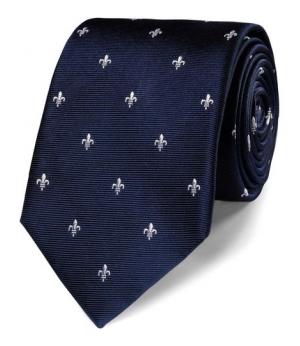 Cravata barbati Charles Tyrwhitt -matase 100 - albastru cu crini albi  imperiali