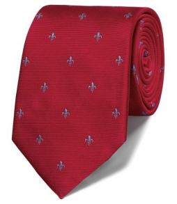 Cravata barbati Charles Tyrwhitt -matase 100 % - rosu cu crini imperia..