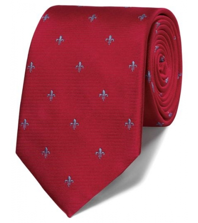 Cravata barbati Charles Tyrwhitt -matase 100 % - rosu cu crini imperiali albastri