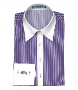 CAMASA FEMEI -HAWES & CURTIS- IN DUNGI- ALB SI VIOLET-SLIM FITTED - MA..